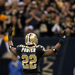 January 7, 2012; New Orleans, LA, USA; New Orleans Saints cornerback Tracy Porter (22) pumps up the crowd during the 2011 NFC wild card playoff game against the Detroit Lions at the Mercedes-Benz Superdome. Mandatory Credit: Derick E. Hingle-US PRESSWIRE