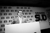 """PALERMO, ITALY - 17 FEBRUARY 2013: Gianfranco Micciché (58) of Grande Sud (Great South), a centre-right coalition of regionalist parties running with Silvio Berlusconi's People of Freedom party, campaigns in Palermo, Italy, on February 17 2013.<br /> <br /> A general election to determine the 630 members of the Chamber of Deputies and the 315 elective members of the Senate, the two houses of the Italian parliament, will take place on 24–25 February 2013. The main candidates running for Prime Minister are Pierluigi Bersani (leader of the centre-left coalition """"Italy. Common Good""""), former PM Mario Monti (leader of the centrist coalition """"With Monti for Italy"""") and former PM Silvio Berlusconi (leader of the centre-right coalition).<br /> <br /> ###<br /> <br /> PALERMO, ITALIA - 17 FEBBRAIO 2013: Gianfranco Micciché (58 anni) di Grande Sud, una federazione di partiti regionalisti di centro-destra alleata al Popolo della Libertà nella coalizione di Silvio Berlusconi, durante un comizio a Palermo il 17 febbraio 2013.<br /> <br /> Le elezioni politiche italiane del 2013 per il rinnovo dei due rami del Parlamento italiano – la Camera dei deputati e il Senato della Repubblica – si terranno domenica 24 e lunedì 25 febbraio 2013 a seguito dello scioglimento anticipato delle Camere avvenuto il 22 dicembre 2012, quattro mesi prima della conclusione naturale della XVI Legislatura. I principali candidate per la Presidenza del Consiglio sono Pierluigi Bersani (leader della coalizione di centro-sinistra """"Italia. Bene Comune""""), il premier uscente Mario Monti (leader della coalizione di centro """"Con Monti per l'Italia"""") e l'ex-premier Silvio Berlusconi (leader della coalizione di centro-destra)."""