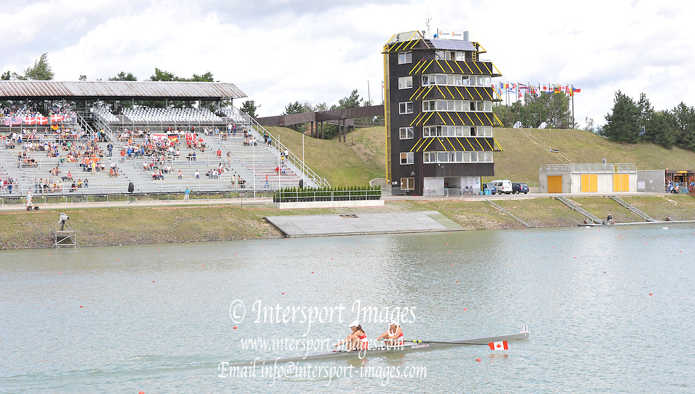 Racice CZECH REPUBLIC.    GV Grandstand and Finish Tower, at the  FISA World U23 Championships,  held on the Racice Rowing Course, 10:49:45 Saturday  25/07/2009,  [Mandatory Credit Peter Spurrier/ Intersport Images]