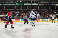 KELOWNA, BC - NOVEMBER 6: Referee Mark Pearce stands at centre ice for the face-off between the Kelowna Rockets and the Victoria Royals  at Prospera Place on November 6, 2019 in Kelowna, Canada. (Photo by Marissa Baecker/Shoot the Breeze)