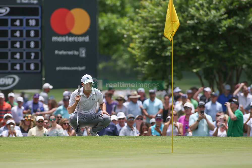 May 25, 2019 - Fort Worth, TX, U.S. - FORT WORTH, TX - MAY 25: Jordan Spieth looks over the 5th green during the third round of the Charles Schwab Challenge on May 25, 2019 at Colonial Country Club in Fort Worth, TX. (Photo by George Walker/Icon Sportswire) (Credit Image: © George Walker/Icon SMI via ZUMA Press)
