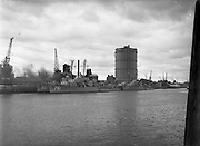 IMCO (Invisible Mending Company) Collection Van visits U.S. Ships.04/08/1956<br /> Gasometer, Irishtown. South Wall,