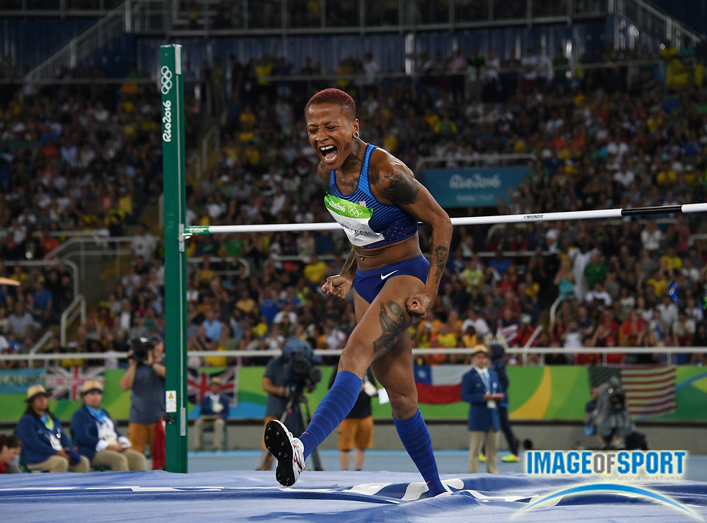 Aug 20, 2016; Rio de Janeiro, Brazil; Inika McPherson (USA) celebrates after a clearance in the women's high jump during the 2016 Rio Olympics at Estadio Olimpico Joao Havelange. McPherson tied for 10th at 6-4 (1.93m) <br /> <br /> *
