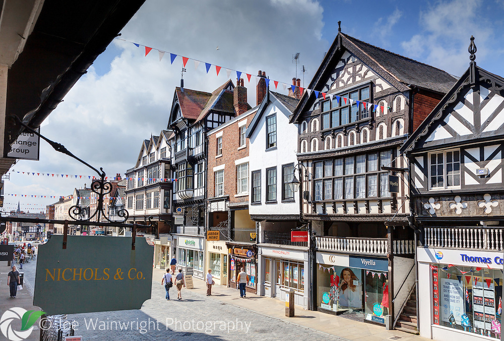Bridge Street, Chester, photographed from the Rows. The west side of the street (pictured) has some very old properties, including one dating from 1274.