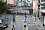 The City of London is locked down on Upper thames Street by Metropolitan and City Police following what is believed to have been a terror-related incident on London Bridge at around 2pm on 29th November 2019 in London, United Kingdom. Police officers cordoned off the bridge, underpass and all surrounding roads following the incident during which members of the public intervened before shots were fired by armed police. The incident is said to have started as a stabbing during which a number of people were stabbed in a building near London Bridge.