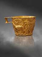 Vapheio type Mycenaean gold cup depicting a wild bull hunt , Vapheio Tholos Tomb, Lakonia, Greece. National Archaeological Museum of Athens.   Grey Art Background<br /> <br />  Two masterpieces of Creto - Mycenaean gold metalwork were excavated from a tholos tomb near Lakonia in Sparta in 1988. Made in the 15th century BC, the gold cups are heavily influenced by the Minoan style that was predominant in the Agean at the time. The bull hunt was popular with  Mycenaean  and Minoan artists and symolised power and fertility. The distinctive shape of the cup is kown as 'Vapheio type'. .<br /> <br /> If you prefer to buy from our ALAMY PHOTO LIBRARY  Collection visit : https://www.alamy.com/portfolio/paul-williams-funkystock/mycenaean-art-artefacts.html . Type -   Athens    - into the LOWER SEARCH WITHIN GALLERY box. Refine search by adding background colour, place, museum etc<br /> <br /> Visit our MYCENAEN ART PHOTO COLLECTIONS for more photos to download  as wall art prints https://funkystock.photoshelter.com/gallery-collection/Pictures-Images-of-Ancient-Mycenaean-Art-Artefacts-Archaeology-Sites/C0000xRC5WLQcbhQ