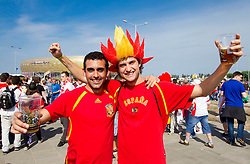 Supporters of Spain near stadium going to the UEFA EURO 2012 group C match between Spain and Italy on June 10, 2012 in Gdansk, Poland.  (Photo by Vid Ponikvar / Sportida.com)
