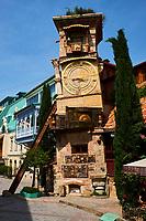 Georgie, Caucase, Tbilissi, vieille ville, tour de l'horloge du vieux Tbilisi // Georgia, Caucasus, Tbilisi, old city, the clock tower