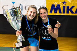 Naja Boisa of Calcit Volley and Spela Marusic of Calcit Volley with trophy and medal after 3rd Leg Volleyball match between Calcit Volley and Nova KBM Maribor in Final of 1. DOL League 2020/21, on April 17, 2021 in Sportna dvorana, Kamnik, Slovenia. Photo by Matic Klansek Velej / Sportida