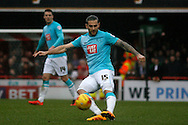 Bradley Johnson of Derby crossing the ball during the Skybet football league championship match, Brentford  v Derby county at Griffin Park in London on Saturday 20th February 2016.<br /> pic by Steffan Bowen, Andrew Orchard sports photography.
