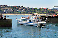 Sight-seeing boat, Ciudad San Sebastian, leaves harbour, San Sebastian, Donostia, Spain, May, 2015, 201505101030<br />