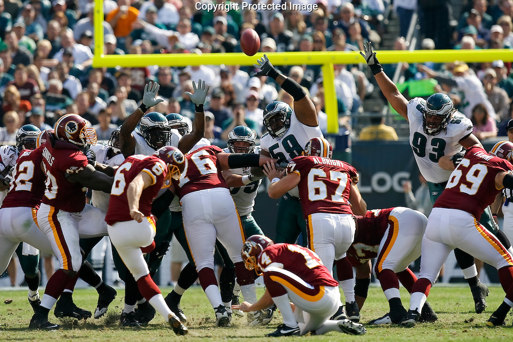 5 Oct 2008: Philadelphia Eagles defense jump to try and block a field goal during the game against the Washington Redskins on October 5th, 2008. The Redskins won 23-17 at Lincoln Financial Field in Philadelphia, Pennsylvania.