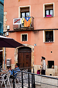 Catalonia flags on balconies of buildings in Tarragona, Catalonia, Spain.
