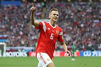 Football - 2018 FIFA World Cup - Group A: Russia vs. Saudi Arabia<br /> <br /> Denis Cheryshev of Russia celebrates scoring his side's fourth goal at the Luzhniki Stadium, Moscow.<br /> <br /> COLORSPORT/IAN MACNICOL