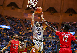 Dec 1, 2018; Morgantown, WV, USA; West Virginia Mountaineers forward Esa Ahmad (23) shoots during the second half against the Youngstown State Penguins at WVU Coliseum. Mandatory Credit: Ben Queen-USA TODAY Sports
