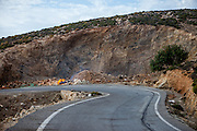 A fire burning on the mountain road to the village of Sklavopoula close to Paleochora on the Greek island of Crete.