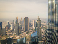 Aerial view of Burj Khalifa and other skyscrapers in Dubai, UAE.