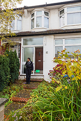 Police guard the Evesham Road home of 98 year-old pensioner XXX who was attacked in his home and is now fighting for his life in hospital. London, November 07 2018.