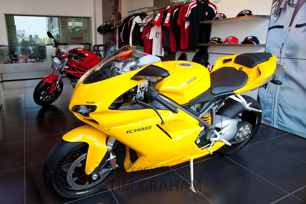 Ducati 1098 motorcycle in dealership showroom in Worli district of Mumbai, formerly Bombay, Maharashtra, India