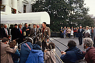 Washington DC  1984/12/27  President Ronald Reagan  talks to the press before boarding Marine One to go to California for New Years.<br /><br /><br />Photo by Dennis Brack