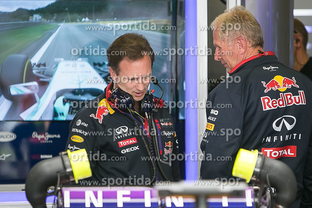 21.06.2014, Red Bull Ring, Spielberg, AUT, FIA, Formel 1, Grosser Preis von Österreich, Qualifying, im Bild v.l.: Christian Horner (Infiniti Red Bull Racing, Teammanager), Dr. Helmut Marko (Infiniti Red Bull Racing, Motorsport-Chef) // during the Qualifying of the Austrian Formula One Grand Prix at the Red Bull Ring in Spielberg, Austria, 2014/06/21, EXPA Pictures © 2014, PhotoCredit: EXPA/ JFK