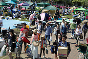 crowded park with picnicking crowd Japan Yokosuka