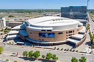 Aerial photo of Chesapeake Energy Arena in Oklahoma City on Thursday, April 23, 2020. The arena is home to the NBA Oklahoma City Thunder basketball team. Photo copyright © 2020 Alonzo J. Adams - Alonzo Adams Photography