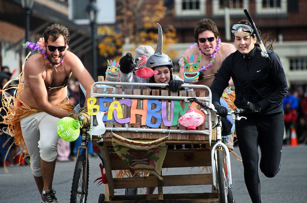 The annual Bed Races, Bar Harbor, Maine