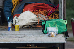 © Licensed to London News Pictures. 15/09/2019. London, UK. Evidence and medical equipment lie next to unfinished soft drinks, at the scene at a children's play area in Jubilee Park in Edmonton, North London where a man, reported to be 30 years old, has bene stabbed to death. A man in his 40's has been arrested. Photo credit: Ben Cawthra/LNP