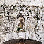 St Paul the apostle featured in exterior alcove, Saint Paul de Vence, Provence, France