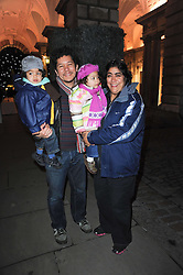 Film director Gurinder Chadha, her husband Paul Berges and children at a Winter Party given by Tiffany & Co. Europe to launch the 10th season of Somerset House's Ice Skating Rink at Somerset House, The  Strand, London on 16th November 2009.