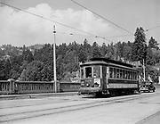 Y-470823-02.  Council Crest Trolley 505 crossing Vista bridge, looking NW. August 23, 1947.