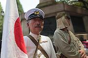 Men dressed in imperial era military uniforms during the 70th anniversary celebrations of the end of the Pacific war  at the controversial Yasukuni Shrine in Kudanshita, Tokyo, Japan Saturday August 15th 2015