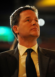 © Licensed to London News Pictures. 17/09/2011. BIRMINGHAM, UK. Deputy Prime Minister Nick Clegg. The Rt Hon Dr Vincent Cable MP Business Innovation and Skills Secretary delivers his speech to the Liberal Democrat Conference at the Birmingham ICC today (19 Sept 2011): Stephen Simpson/LNP . Photo credit : Stephen Simpson/LNP