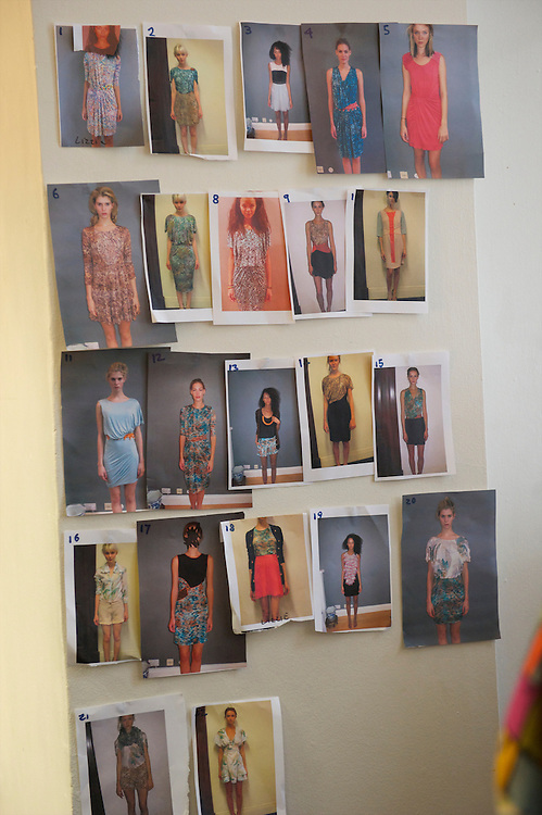 A mosaic of photographs illustrate the designs to be shown backstage at the Saloni autumn/spring 2010/2011 show during a fashion show held in the map room of the Royal Geographical Society, South Kensington, London on 20 September 2010.