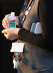 ©Licensed to London News Pictures 02/03/2020<br /> Maidstone, UK. A female member of staff holding some Deb sanitizer gel. A member of staff working at a business on the Maidstone studios site in Maidstone, Kent has tested positive for Coronavirus. Its the first confirmed case in Kent. Photo credit: Grant Falvey/LNP