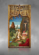 Gothic Catalan Alterpiece of Sant Jeroni Penetant by Mestre de la Seu d'Urgell, circa 1495, tempera and gold leaf on wood, from the church of Santa Maria de Puigcerda, Baixa Cerdanya, Spain.  National Museum of Catalan Art, Barcelona, Spain, inv no: MNAC  15821. Against a grey art background. . .<br /> <br /> If you prefer you can also buy from our ALAMY PHOTO LIBRARY  Collection visit : https://www.alamy.com/portfolio/paul-williams-funkystock/gothic-art-antiquities.html  Type -     MANAC    - into the LOWER SEARCH WITHIN GALLERY box. Refine search by adding background colour, place, museum etc<br /> <br /> Visit our MEDIEVAL GOTHIC ART PHOTO COLLECTIONS for more   photos  to download or buy as prints https://funkystock.photoshelter.com/gallery-collection/Medieval-Gothic-Art-Antiquities-Historic-Sites-Pictures-Images-of/C0000gZ8POl_DCqE