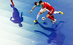 Denis Totoskovic of Slovenia vs Daniil Davydov of Russia during futsal quarterfinal match between National teams of Slovenia and Russia at Day 7 of UEFA Futsal EURO 2018, on February 5, 2018 in Arena Stozice, Ljubljana, Slovenia. Photo by Vid Ponikvar / Sportida
