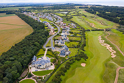 Aerial view of  Archerfield Links golf course and luxury housing adjacent near North Berwick in East Lothian, Scotland, UK