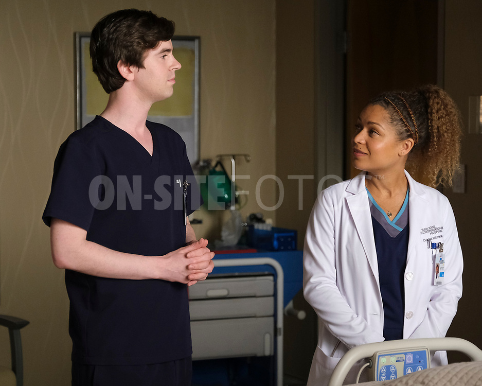 """THE GOOD DOCTOR - """"Gender Reveal"""" – After finding out the gender of their unborn child, Lea's enthusiasm prompts Shaun to make an effort to be a more supportive partner. Meanwhile, the team treats a navy pilot whose previous doctor's misdiagnosis compromises her chances at a full recovery on an all-new episode of """"The Good Doctor,"""" MONDAY, APRIL 19 (10:00-11:00 p.m. EDT), on ABC. (ABC/Jeff Weddell)<br /> FREDDIE HIGHMORE, ANTONIA THOMAS"""