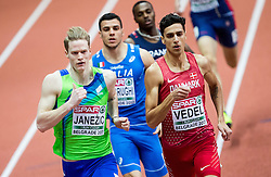 Luka Janezic of Slovenia and Lobo Benjamin Vedel of Denmark compete in the Men's 400 metres heats on day one of the 2017 European Athletics Indoor Championships at the Kombank Arena on March 3, 2017 in Belgrade, Serbia. Photo by Vid Ponikvar / Sportida