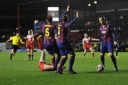 Bristol Academy Womens' Natasha Harding is fouled for a penalty - Photo mandatory by-line: Dougie Allward/JMP - Mobile: 07966 386802 - 13/11/2014 - SPORT - Football - Bristol - Ashton Gate - Bristol Academy Womens FC v FC Barcelona - Women's Champions League