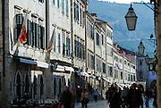 View down Stradun (Placa), the main street of Dubrovnik old town, Croatia