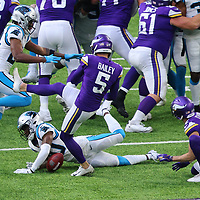 MINNEAPOLIS, MN - NOVEMBER 29: Natrell Jamerson #30 of the Carolina Panthers blocks a field goal attempt by Dan Bailey #5 of the Minnesota Vikings in the second half at U.S. Bank Stadium on November 29, 2020 in Minneapolis, Minnesota. The Minnesota Vikings defeated the Carolina Panthers 28-27.(Photo by Adam Bettcher/Getty Images) *** Local Caption *** Natrell Jamerson; Dan Bailey