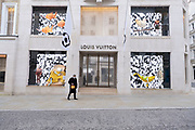 With very few people out and about, Bond Street is virtually empty with all shops, like here outside the Louis Vuitton store, closed as the national coronavirus lockdown three continues on 3rd March 2021 in London, United Kingdom. With the roadmap for coming out of the lockdown has been laid out, this nationwide lockdown continues to advise all citizens to follow the message to stay at home, protect the NHS and save lives, and the streets of the capital are quiet and empty of normal numbers of people.