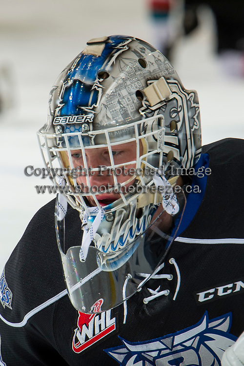 KELOWNA, CANADA - JANUARY 25: Brock Gould #1 of the Victoria Royals stands on the ice against the Kelowna Rockets  on January 25, 2019 at Prospera Place in Kelowna, British Columbia, Canada.  (Photo by Marissa Baecker/Shoot the Breeze)