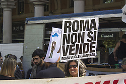 May 6, 2017 - Rome, Italy - Hundreds of people have traveled the streets of Rome to denounce the policy of repression and misery put into effect by the government and carried on by the 5-star Capitol administration. In spite of the Mayor's promise, in fact, the city has not stopped the evictions and repression of migrants, students, activists and poor people who, on Fridays, led to the death of a Senegalese walker. There are so many voices in the square defending the social and cultural spaces from below that can not be considered as a matter of public order. (Credit Image: © Elisa Bianchini/Pacific Press via ZUMA Wire)