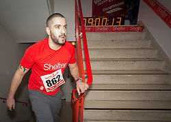 © Licensed to London News Pictures. 03/03/2015.  London.  Singer Shayne Ward joined hundreds of runners today as they climbed 42 floors and 932 steps at Tower 42 as part of Shelters Vertical Rush charity event.      Photo credit : Alison Baskerville/LNP