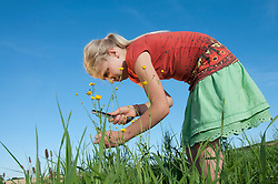 Girl (10-11) in meadow, examining flowers through magnifying glass