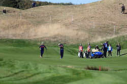 Team USA's Samuel L. Jackson (right) in action alongside Kurt Russell (left) during the 2018 Ryder Cup Celebrity Match at Le Golf National, Saint-Quentin-en-Yvelines, Paris.